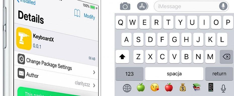 iPhone X keyboard with KeyboardX + Barmoji tweak