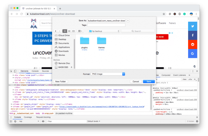Chrome full page screenshot using the built-in feature